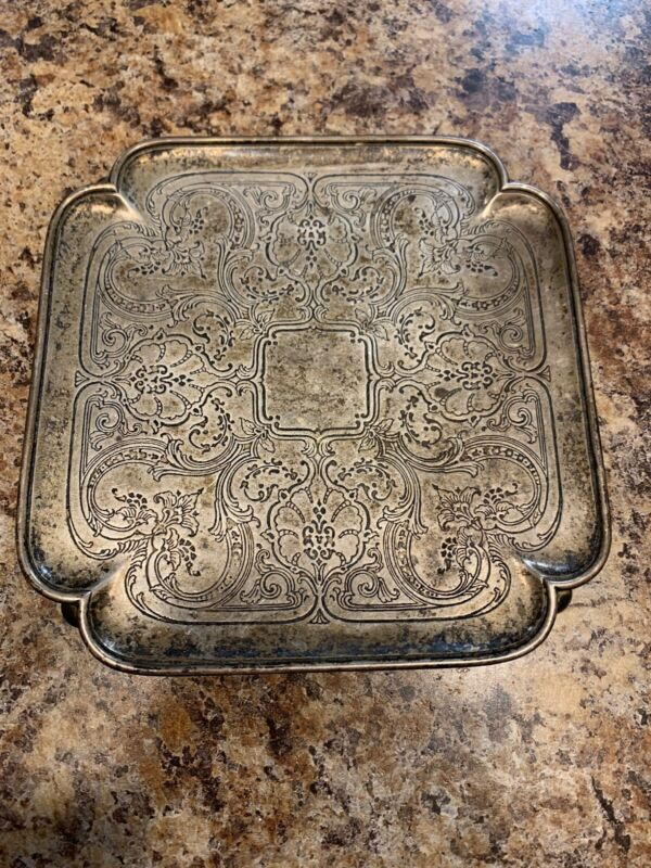 Vintage Tiffany & Co. Makers 7043 Small 6x6Trinket Plate Sterling Silver 7.2 Oz