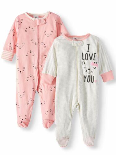 Gerber Baby Girls 2 Pack Organic Cotton Sleep N Plays NEW Various Sizes Bear