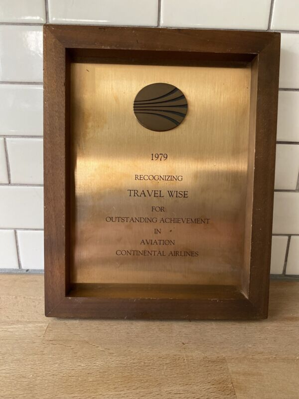 Continental Airlines 1979 Travel Wise Award  8x10