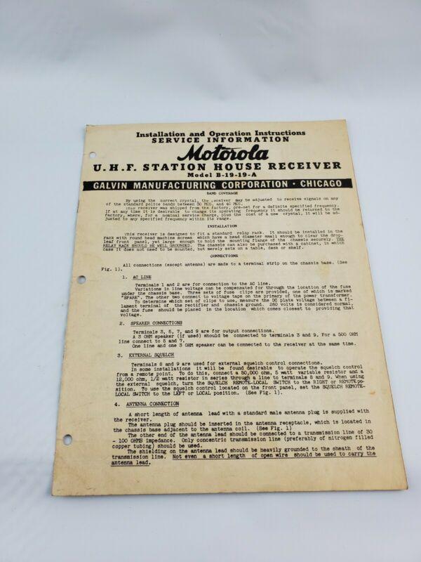 Motorola UHF Station House Receiver Model B-19-19-A Installation Service Manual