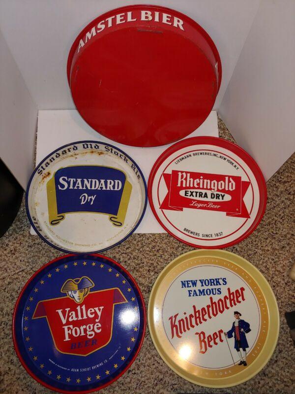 5 Vintage 60s/70s Metal Beer Tray,Standard Dry,Amstel,Valley Forge,Knickerbocker