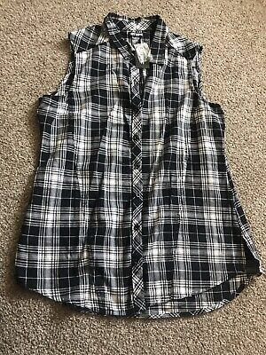 Hot Topic Black And White Sleeveless Plaid Checked Blouse Top XXL Ladies