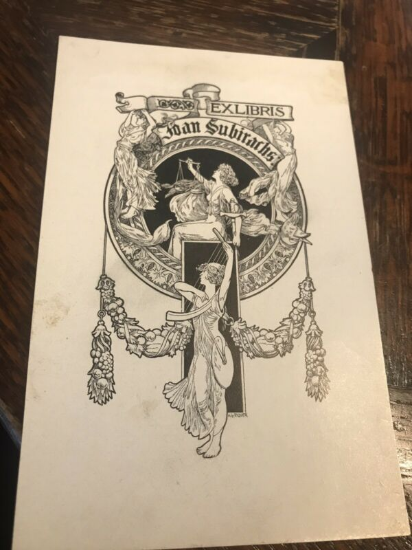 Antique Spanish artist ALEXANDRE DE RIQUER Ex Libris BOOKPLATE Art Nouveau Litho