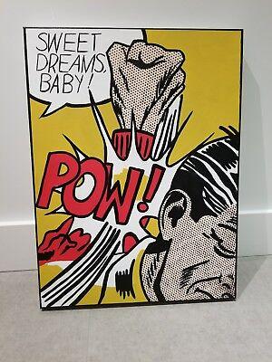 Original Vintage Comic book painting roy Lichtenstein andy warhol handpainted
