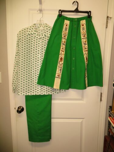 3-pc Vintage Girl Scout Leader Uniform - Blouse, Slacks, Cross Stitch Skirt