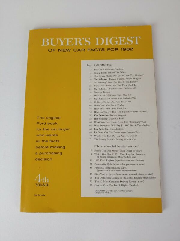 Vtg Ford Buyers Digest of New Car Facts 1962 4th Year Automobiles