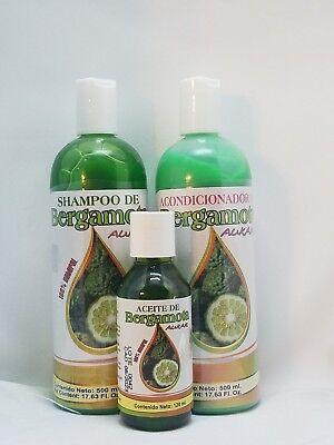 Shampoo Bergamota & Hair Conditioner & Oil Kit 100% Natural ( Hair Growth Kit )