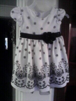Girls Size 18 Months Dress - White with Black Embroidered Flowers, cap sleeve    Flowers 18 Months