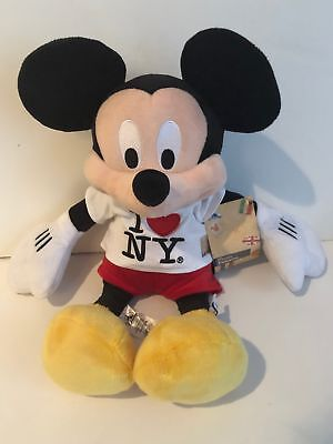 """Disney Store Authentic 18"""" Mickey Mouse I Love New York Plush Red Pants New"""