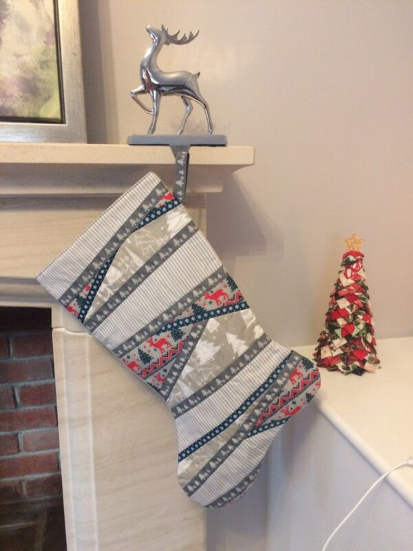 Handmade+Traditional+Grey+Quilted+Christmas+Stocking