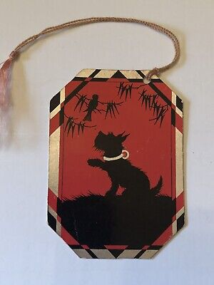 Halloween Dog Games (Vintage Scottie Dog Bridge Game Card Tally 1920s)