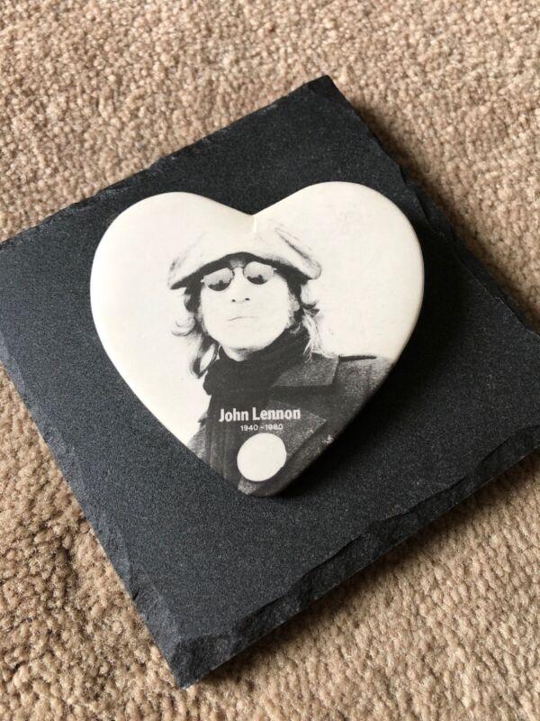 John Lennon Button/Pin Heart Shape Black and White