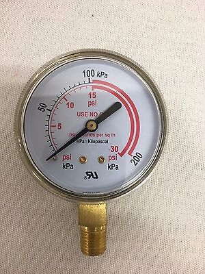 2-12x30 Psi Pressure Gauge For Acetylene Regulator 0-30 Psi 14-18npt 2.5-30