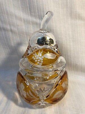 Julia Genuine Hand Cut Lead Crystal 24%/Amber Pear Dish Made In Poland Beautiful 24% Hand Cut Lead