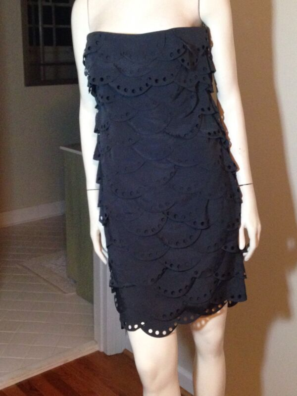 Esley Gray Strapless Scalloped Tiered Dress Womens Large EUC