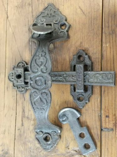 Antique Thumb Latch Ornate Victorian Door Gate Handle Cast Iron Salvaged Parts