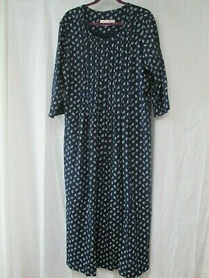 Vermont Country Store Navy Blue Print Dress - Navy Blue Long Dress