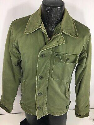Vtg ALPHA Vietnam War A-2 Military DECK Jacket USN Stencil Cold Weather Coat S