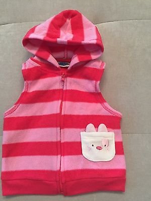 Baby Girl Bon Bebe Size 6-9 Month Pink Hoodie Vest Bunny