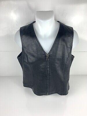 Croft & Barrow Lambskin Black Leather Zip Front Lined Vest Women's Size L EUC Lined Lambskin Leather