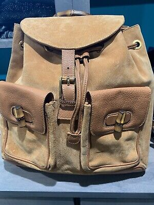 Authentic vintage Gucci Backpack Bamboo Handle Suede Leather