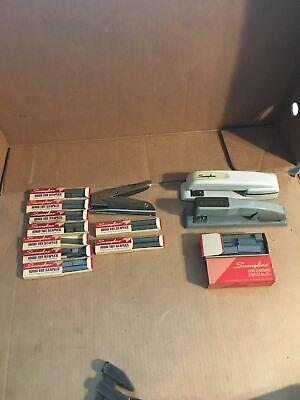 Lot Of 3 Vintage Swingline 747 444 Hand Plier Stapler And Staples