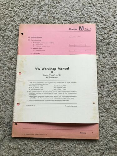 1973 VW workshop manual M 6th Supplement engine type 1 an 2 pages.