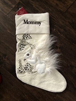 NWT Pottery Barn Woodland Squirrel Crewel Faux Fur Christmas Stocking Mommy
