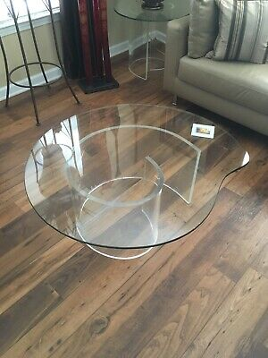 Vintage Hollywood Regency Lucite Snail Coffee and Side Tables ()