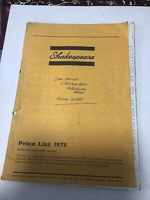 Vintage retro Shakespeare trade price list 1975 fishing tackle guide Catalogue