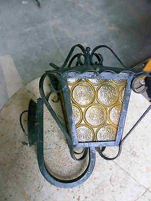 Alte Laterne Wandlampe mit Ausleger H 38 cm Glas Metall