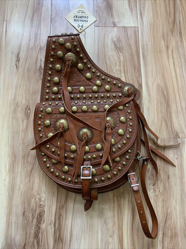 Maker Hayles Cripple Creek Saddle Bag Brown Tooled Leather Brass Stud Concho