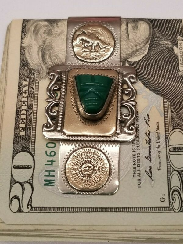 Sterling Silver 925 Taxco Mexico Money Clip Green Turquoise