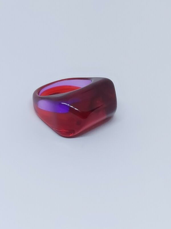 Vintage Red & Purple Translucent Lucite Ring Size 8.5