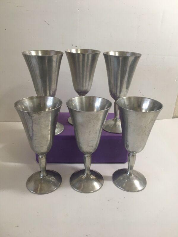 "Vintage Set Of 6 Plator Silverstone Spain Wine Goblets 7"" Tall"