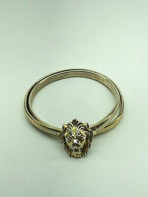 Vintage Anne Klein Skinny Single Lion Head Stretchy Snake Belt Small, Gold-tone