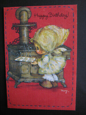 1980s vintage greeting card Hallmark Mary Hamilton BIRTHDAY Girl Baking Cookies