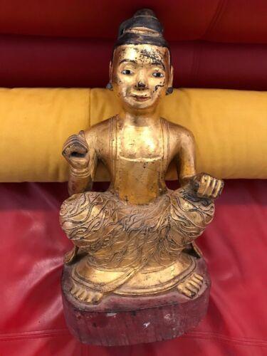 "Antique Burmese gold gilt spirit Nat TEAK wood figure 17"" X 9"" X 8"""