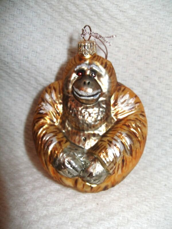 Gorilla  Hand Painted  Christmas Blown Glass Ornament