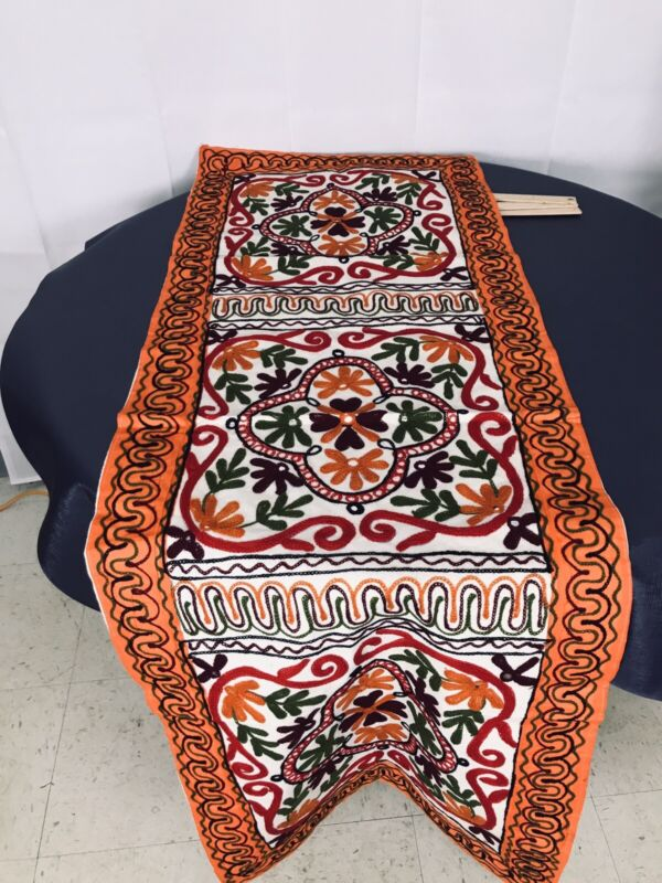 Mandala Style Design appliqué quilt Bright table runner 21 x60 Decoration Mirror
