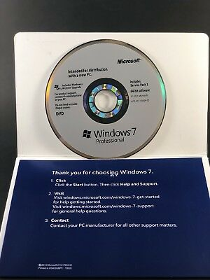 Microsoft Windows 7 Professional 64 Bit SP1 Full Version New [Sealed]