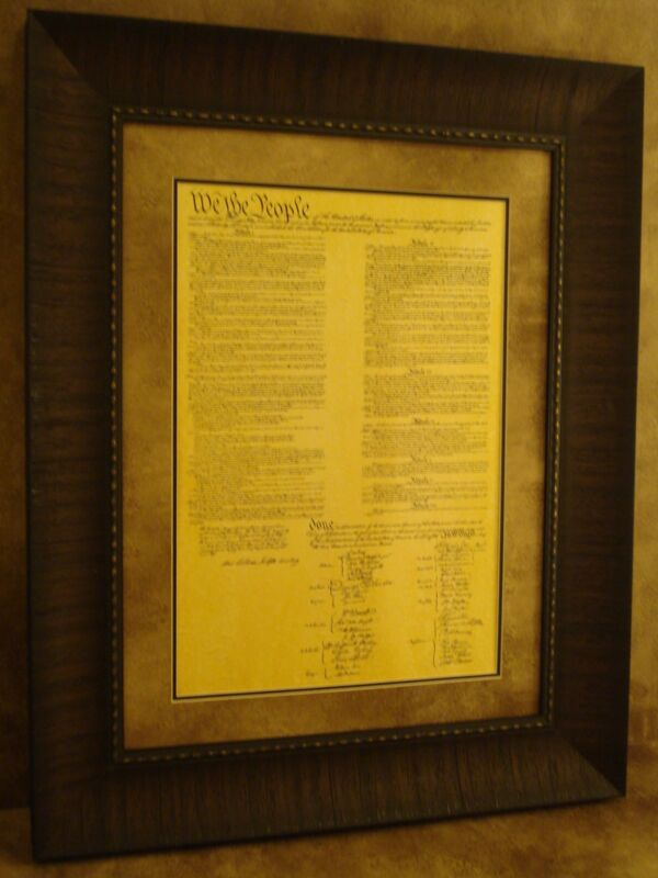 CONSTITUTION OF THE UNITED STATES OF AMERICA PRINTED PARCHMENT PAPER FRAMED