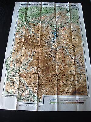 alte Karte Höhenschichtenkarte des oberen Saaletales und des Frankenwaldes