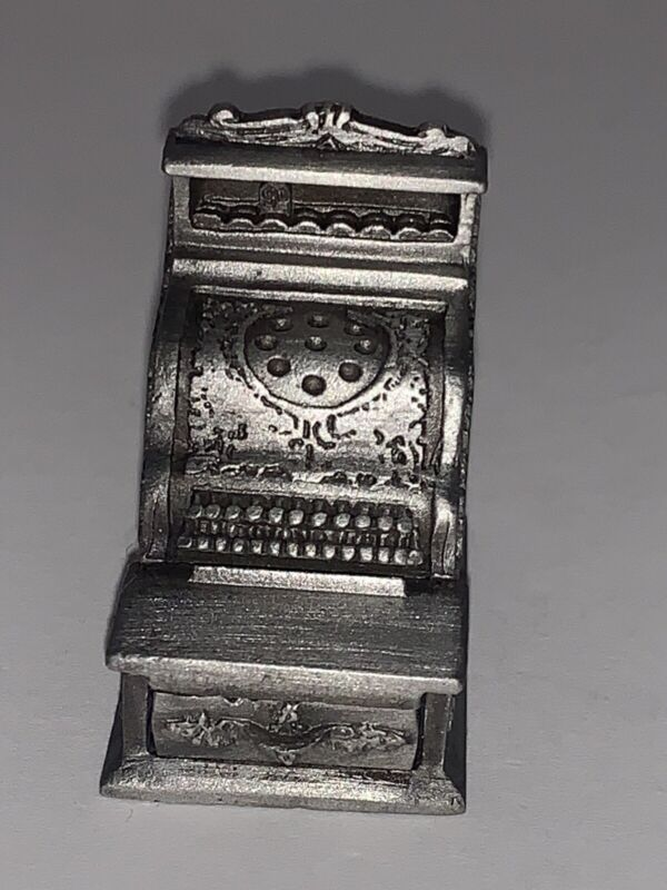 Vintage Pewter Figural THIMBLE Cash Register with Removable DRAWER