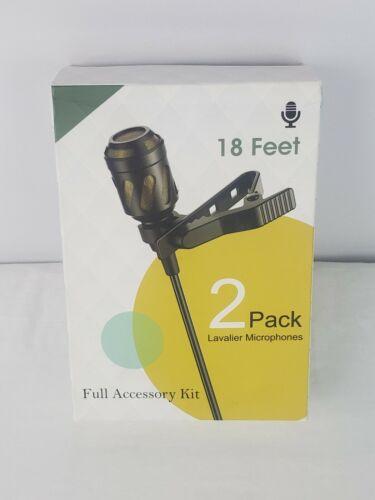 18 Feet Lavalier Microphones 2 Pack, Lapel Microphones, microphone jack input