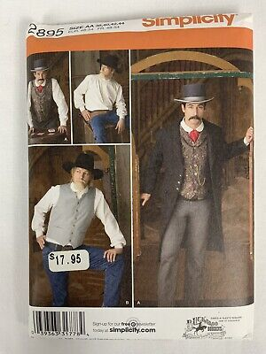 SIMPLICITY PATTERN 2895 STEAMPUNK WESTERN COSTUMES MENS SIZES 38 40 42 44 UNCUT