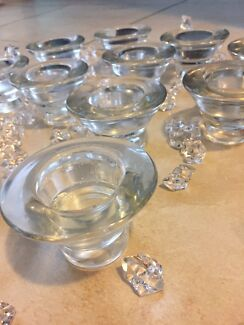 Glass Tea Light Candle Holders & Scatter Crystals
