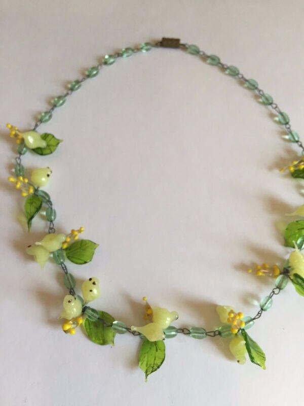 Vintage VENETIAN glass Murano Italy  FLOWER leaf YELLOW BIRD bead NECKLACE