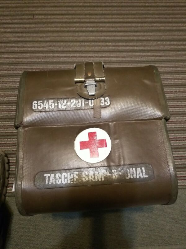 West German Military First Aid Bag with Carry Strap-Used VGC with medical items