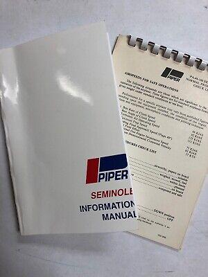 Piper Seminole PA44-180 Information Manual 1978 Copy & Pilot Check List Original for sale  Barberton